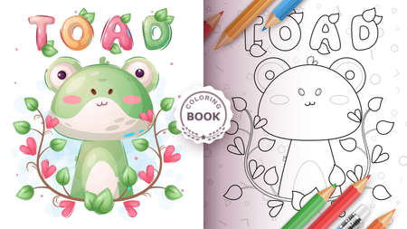 Cartoon character childish animal toad - coloring book 矢量图像
