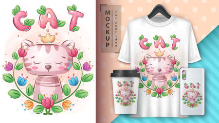 Princess cat - cute adorable poster and merchandising. 矢量图像