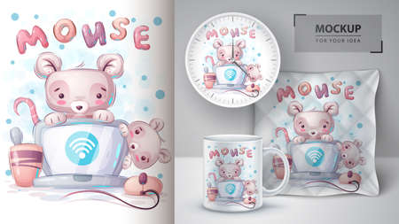 Mouse connects wifi poster and merchandising. 矢量图像