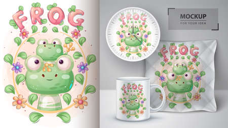 Cute frog family poster and merchandising. 矢量图像