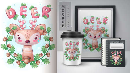 Deer in leaf poster and merchandising.