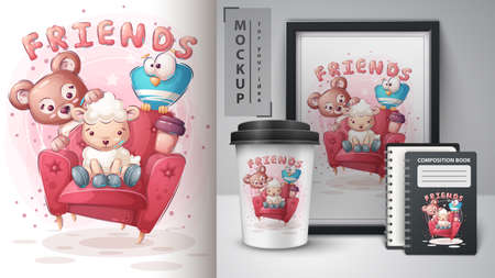 Friends on sofa poster and merchandising 矢量图像