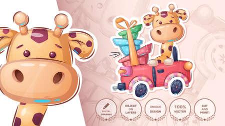 Giraffe in the car cute sticker 矢量图像