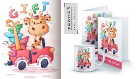 Giraffe car poster and merchandising.