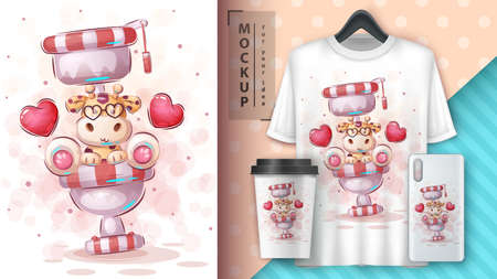 Toilet giraffe - poster and merchandising.