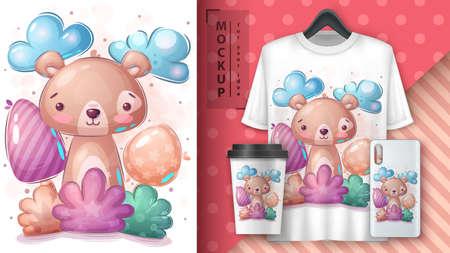 Bear in bush poster and merchandising. 矢量图像