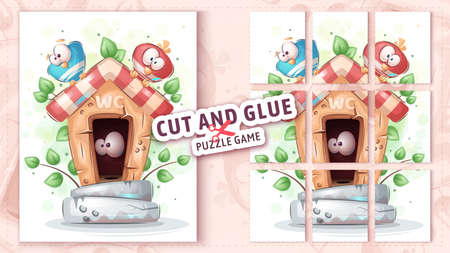 Bird in toilet, cut and glue - puzzle game