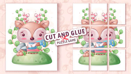 Childish deer with shovel, cut and glue - puzzle game.