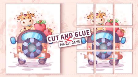 Giraffe travel, cut and glue - puzzle game. 矢量图像