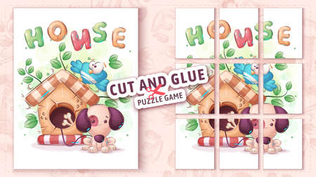 Dog house, cut and glue - puzzle game. 矢量图像
