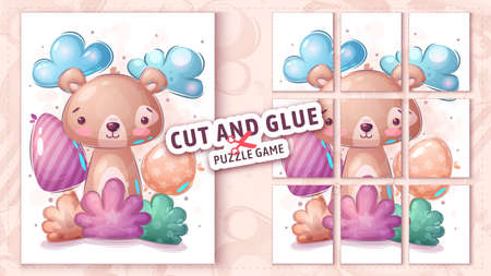 Bear in bush, cut and glue - puzzle game.