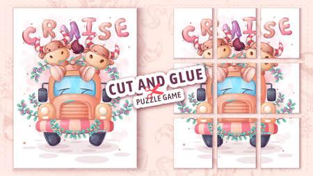 Bull travel, cut and glue - puzzle game. 免版税图像