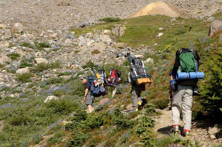 untitled key: mountain climbers on mountain trail