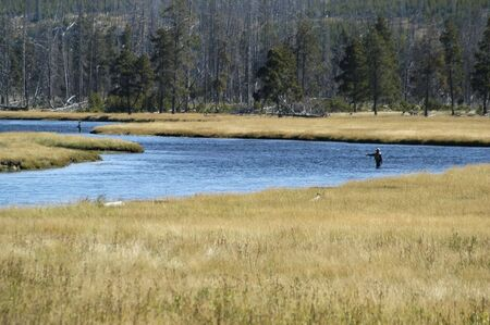 Two fly sisherman fishing the Madison River Banco de Imagens