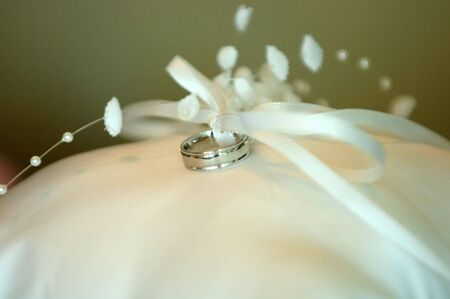 untitled key: Wedding ring with silk bow