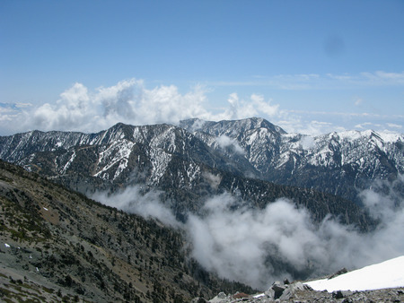 gabriel: Snowy San Gabriel Mountains in Southern California in the distance with blue skies overhead
