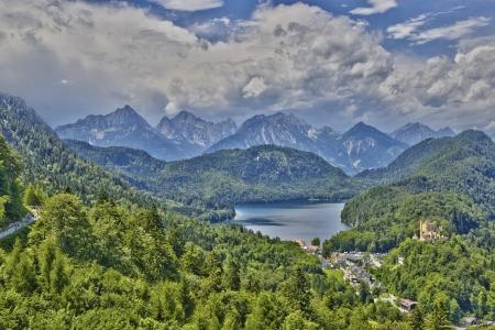 allgau: Castle Hohenschwangau alps and Alpsee Editorial