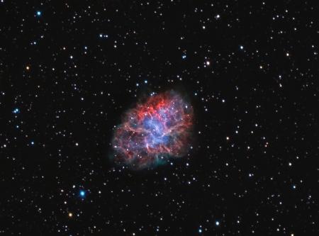 cangrejo: remanente de supernova nebulosa y pulsar viento en la constelación de Tauro
