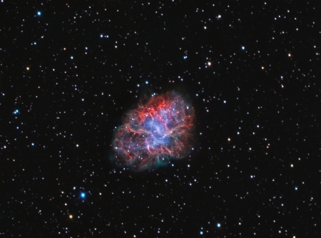 blue crab: supernova remnant and pulsar wind nebula in the constellation of Taurus