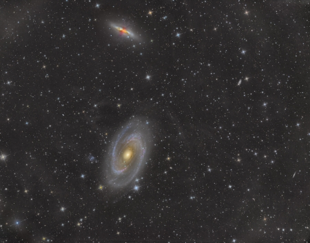 Bodes galaxy and Cigar Galaxy in constellation Ursa Major Stock Photo