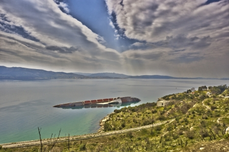 Ship wreck at Gulf of Saron in Greece Stock Photo