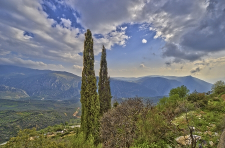 Greek Landscape in spring with cypress