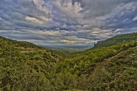 Greek Landscape in spring with macchia