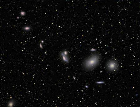 ccd: galaxies imaged with a telecope and a scientific CCD camera Stock Photo