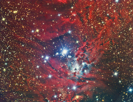 NGC 2264 Christmas Tree Cluster and Nebula imaged with a telescope and a scientific CCD camera