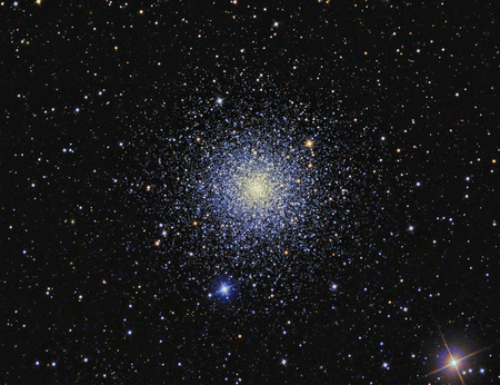 M3 Globular cluster imaged with a telescope and a scientific CCD camera Stock Photo