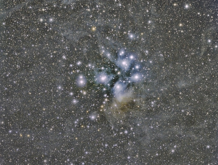 messier: M45 Pleiades star cluster imaged with a telescope and a scientific CCD camera
