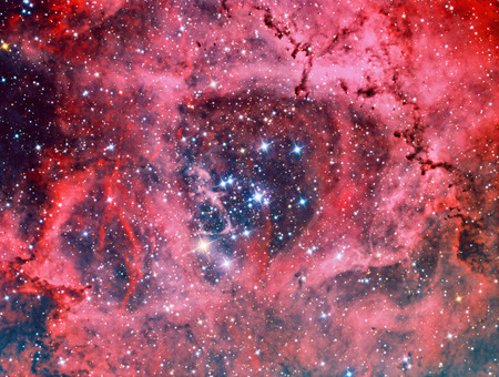NGC 2244 Rosette Nebula imaged with a telescope and a scientific CCD camera