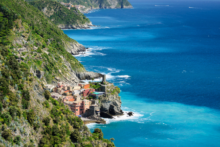 Vernazza on the Ligurian coast in Italy. Place on the Cinque Terre in the province of La Spezia. 写真素材