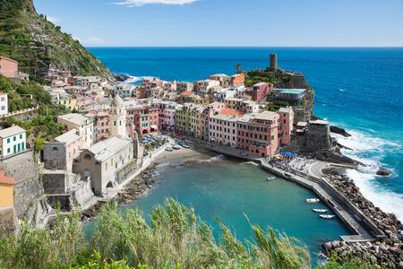 Vernazza on the Ligurian coast in Italy. Place on the Cinque Terre in the province of La Spezia. Фото со стока