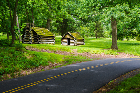 Revolutionary replicas sit, covered in moss, around a bend at Valley Forge, Pennsylvania, USA