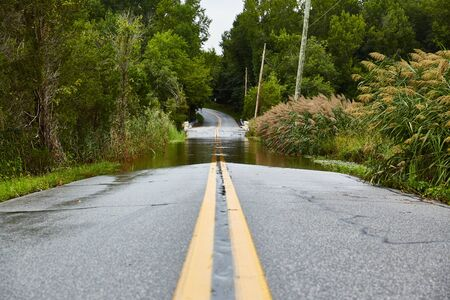 Flooded roadway after heavy rain storm