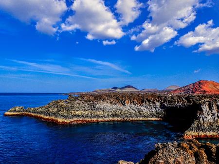 Sand beach on Scottish Isle with Deep Blue Sky Stock Photo
