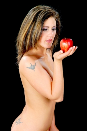 individually: Young woman as Eva with apple
