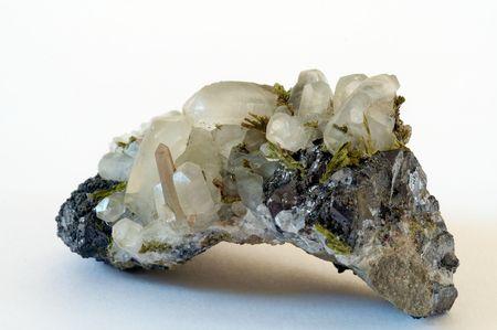 Druze of crystals calcyte, quartz, epidote from Arnenia Stock Photo