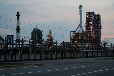 petrochemistry: Petroleum chemical plant at night Stock Photo