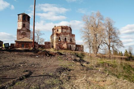 Ruins of old monastery, Pinega river, Russia