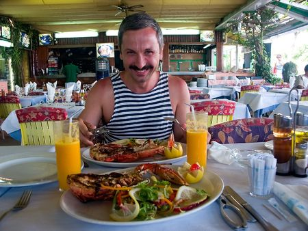 Man with lobster