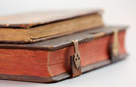 Antique books on white Stock Photo