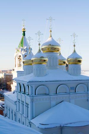 reverential: Vintage chiesa in inverno, Nizhniy Novgorod, Russia