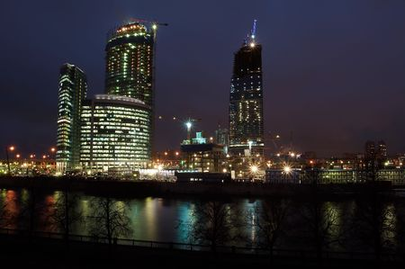 Night scenery of building Moscow City Stock Photo