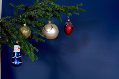 newyear: New-Year tree decorations on blue Stock Photo
