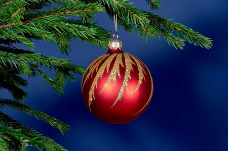 New-Year tree decorations on blue Stock Photo