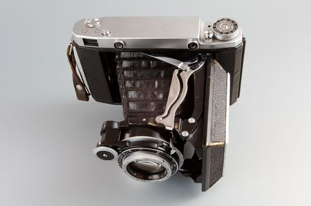 Vintage meetzoeker camera met en balgen Stockfoto