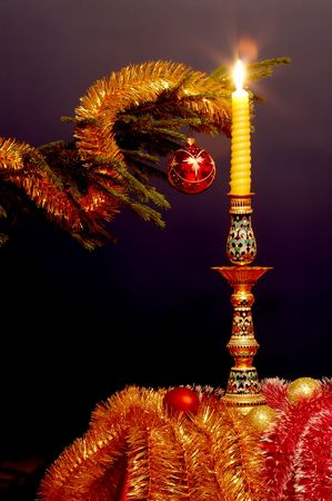 newyear: New-Year tree decorations with candle