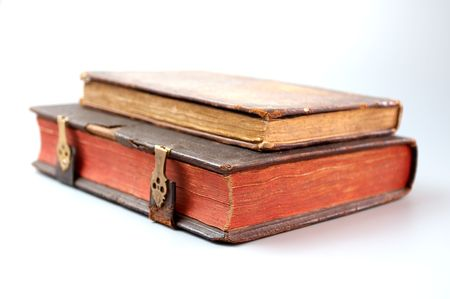 Antique book on white background Stock Photo